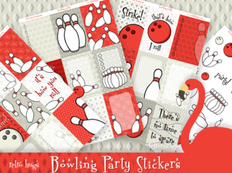 Bowling Party | Sticker Kit | Matches Vertical WO2P Retro Hugs Inserts and Carpe Diem Vertical Inserts
